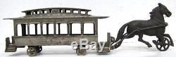 Harris cast iron train street car nickel plated 1895 antique