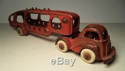 Hubley Cast Iron Red Car Auto / Carrier Transport Arcade