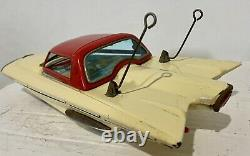ICHIDA FORD GYRON White Tin Concept Toy Car Battery Op. Japan 1950s