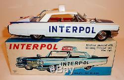 ICHIKO Japan Tin Litho Friction 1963 CADILLAC 2-DR HARDTOP INTERPOL CAR with BOX