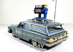 Ichiko Plymouth Rai T. V Car Battery Op. Vtg Tin Japan, Alps, Yonezawa, Banday