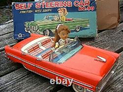 ICHIKO TIN PLATE FRICTION SELF STEERING CAR No 60 BOXED JAPANESE