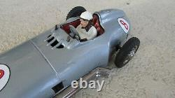 JNF tin toy race car 10 1954 Mercedes Benz W196 W. Germany 1950's wind up & key