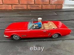 Japan Tinplate Battery Operated Ford Mustang Convertible Awesome 1960s Model