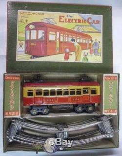 Japanese Vintage Cable Tram Locomotive Train with Rails Electric Car Tin Toy