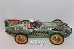 LARGE 1950 YONEZAWA TIN FRICTION #153 ATOM RACE CAR in BOX