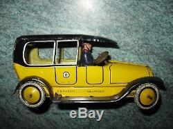 LEHMANN TAXI YELLOW CAB 1920s CLOCKWORK TINPLATE GERMANY VINTAGE TIN TOY CAR 755