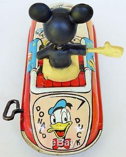 Louis Marx 50's Mickey & Friends Car Tin Lithographed Wind Up Toy 6 3/4 Large
