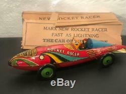 Large 16 1930's Marx Tin Windup Toy Rocket Racer Race Car with Driver and Box