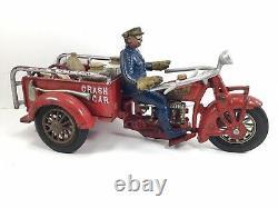 Large HUBLEY INDIAN Vintage Cast Iron Crash Car Motorcycle Original Accessories