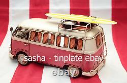 Last TINPLATE MODEL BLECHMODELL Camp Camper Surf bus pink trailer car handmade