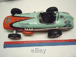 Lg 16 Yonezawa/Sears Japan Tin Friction Indianapolis 500 Rac Car. A+. Works