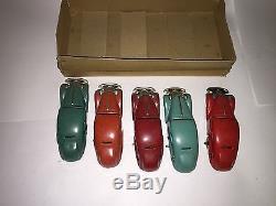 Lot of 5 Vintage SCHUCO Tin WIND-UP Clockwork CAR #1001U. S. Zone Germany