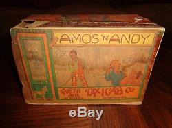 Louis Marx Amos'N' Andy Fresh Air Taxi Tin Windup Car with Original Box & Cutouts