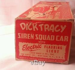 MARX 1949 DICK TRACY SIREN SQUAD TIN WINDUP CAR With BOX