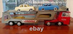 MKK Quality Toys Vintage 1960's Friction Powered Highway Transport Truck/2 Cars