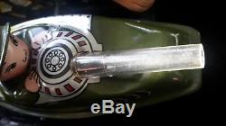 Made in China rare tin motorcycle with side car green military Chinese MF 807