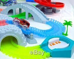 Magic Twisting Flexible Glow Dark Race Car Tracks Bridge & Tunnel Set Addon Set