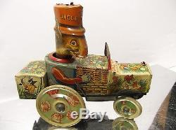 Marx Uncle Wiggily's Tin wind up Crazy Car, 1930's Uncle Wiggly Car Works