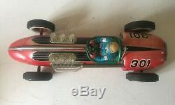 Modern Toys Masudaya Japan Large Tinplate Battery Operated Racing Car Working