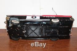 NICE ALPS TIN BATTERY OPERATED 1958 LINCOLN POLICE HIGHWAY PATROL CAR in BOX