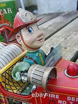 Nomura Tn Tinplate Fire Chief Car Japanese Boxed