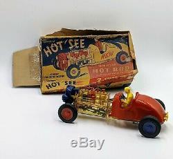 Nosco Plastics Hot Rod Hot See vintage roadster race car 1950s friction toy 6490
