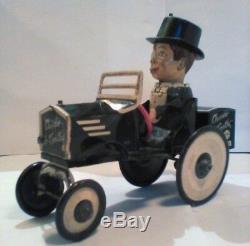 ORIGINAL Charlie McCarthy Wind-Up Tin-Litho Bump N' Go Crazy Car