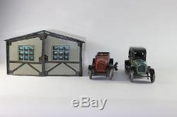 ORIGINAL Tin Plate Clockwork Bing Sedan & Touring Car with Garage