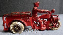 Old Hubley Cast Iron Indian Crash Car, Original Paint, Spoked Wheels