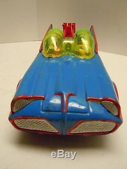 Old LG Japan ASC Tin Battery Op. Batmobile Car in Box. A++. Works