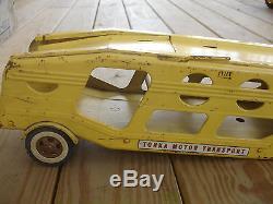 Old Vtg Pressed Steel TONKA Truck Car Transporter Carrier Trailer Toy