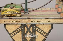 Original Vintage Busy Bridge Tin Mechanical Toy 6 Cars by Louis Mark & Co. 193