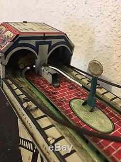 Original Vintage Busy Bridge Tin Winder Toy 6 Cars by Louis Mark & Co. 1930