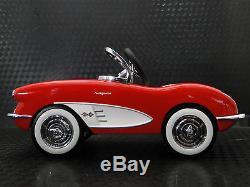Pedal Car 1959 Corvette Chevy Vintage Sport Hot Rod Midget Metal Model Red