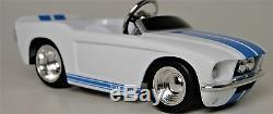 Pedal Car Ford Mustang 1960s Hot Rod Vintage White Midget Metal Body Show Model