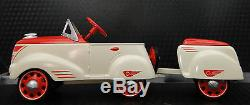 Pedal Car Rare 1940 Ford w Trailer Vintage T Sport Metal Model NOT A Ride On Toy