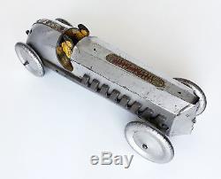 PreWar Silver Dash Race Car Buffalo Toys 1925 USA tinplate tin toy ART DECO RARE