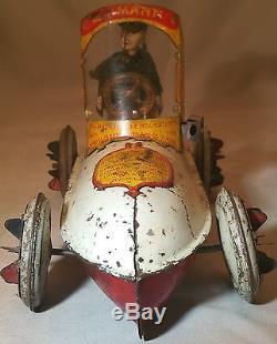 Prewar Lehmann Tin Clockwork UHU Race Car / Racer German Wind Up Toy