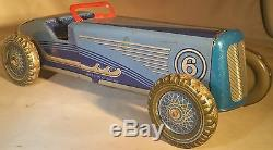 Prewar Mettoy Tin Clockwork Race Car / Racer English Windup Toy