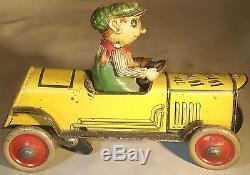 Prewar Tin Clockwork Whats Wrong Car by Distler of Germany -Humorous Windup Toy