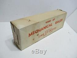 RACE CAR WITH ORIGINAL BOX WIND-UP TESTED WORKS GOOD VINTAGE 1940s