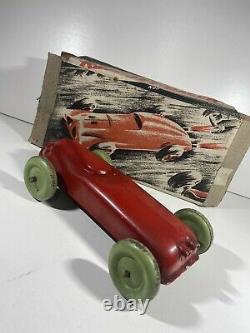 RAJAR RED JET RACER 1940s 1950's Clockwork Boxed Toy Car Tin Plate Vintage