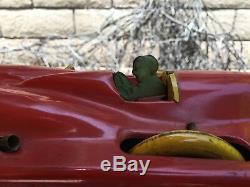 RARE 20s Buffalo Toy Co, Tin Litho Spiral Windup Red Streak Race Car 21 long