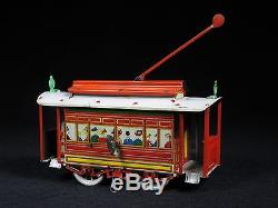 Rare Early Orobr Germany Trolley Car Tram Train Tin Litho Windup Toy Works