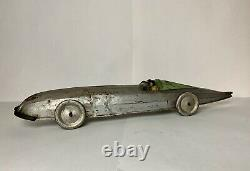 RARE Early Vintage BUFALLO TOYS SILVER BULLET PRESSED STEEL MECHANICAL RACE CAR
