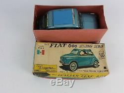 RARE FIND Vintage Bandai Fiat 600 Friction Motor Tin Car Original Made In Japan