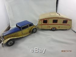 Rare Mettoy Wind Up Car House Trailer Caravan Great Britain