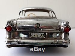 RARE Marusan Kosuge Ford Fairline Sedan Chrome Silver friction toy car, Japan-WOW