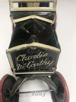 RARE Red Wheels 1930S MARX CHARLIE MCCARTHY TOY WINDUP CAR